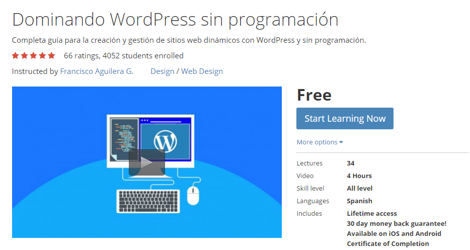 Curso Udemy sobre WordPress