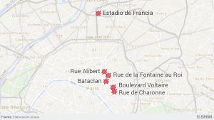 Seis puntos más afectados por los atentados. Fuente: El Español