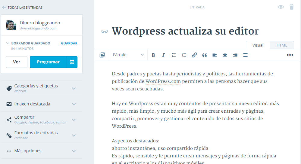 WordPress actualiza su editor